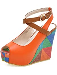 SHOWHOW Damen Bequem Peep Toe Wedges Sandaletten High Heels Sommerschuhe
