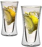 1aTTack.de 833239 Trink/Thermo-Glas 300 ml XXL doppelwandig Modell Belly für Heiß- und Kaltgetränke, 2-Stück