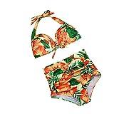 VENMO Mujer Atractivo Tiro Alto Bikini Conjunto, Empujar Traje de Baño Acolchado Bañador de Ropa de Playa (XL, Naranja)