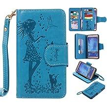 Cozy Hut funda para Samsung Galaxy, con tapa, con diseño de niña, mariposas, Flores y gato, funda Estilo Libro y Cartera, de Cuero sintético, con función de soporte y suave TPU, altavoz interior
