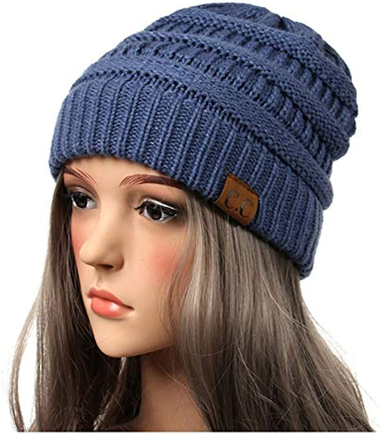 Meaeo Cappellino da Donna Trendy Warm Chunky Soft Stretch Cable Cable  Stretch Knit Slouchy Beanie Winter d61d9682cf6a