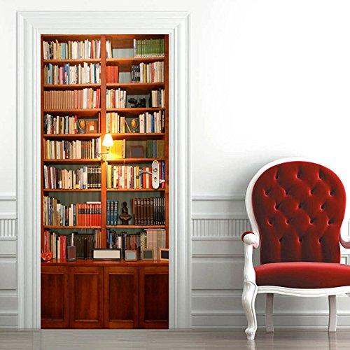 3d póster momoda Self Adhensive sala de adhesivo para pared puerta PVC, tamaño grande (220* 77cm)–-bookcase