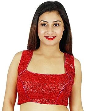 Densos Lentejuelas Bollywood Choli prefabricado desgaste de mujeres blusa roja de Cultivos-Top étnico