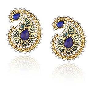 Ava Traditional Stud Earrings for Women (Blue) (E-VS-031B)