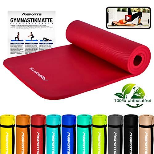 MSPORTS Gymnastikmatte Premium inkl. Tragegurt + Übungsposter + Workout App GRATIS I Fitnessmatte Rubinrot - 190 x 60 x 1,5 cm Hautfreundliche Phthalatfreie Yogamatte