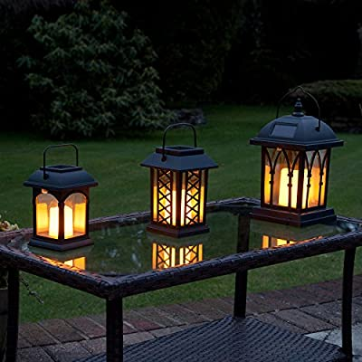 Garden Candle Lanterns - Solar Powered - Flickering Effect - Amber LED - 3 Pack by Festive Lights by Festive Lights