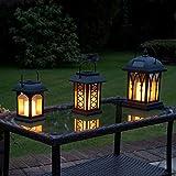 3-er Set: schwarze Solar Laternen mit LED Kerzen und täuschend echt wirkenden...