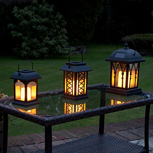 Lot 3 Lanternes Solaires avec Bougie à LED Éclairage Vacillant Ambre Ultra Réaliste (Piles Rechargeables Incluses) Waterproof
