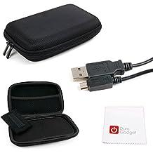 DURAGADGET KIT Estuche / Funda Rígida Para Navegador GPS + Cable MicroUSB-USB + Paño Limpiador - Alta Calidad