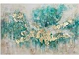 KunstLoft Acryl Gemälde 'Consciousness' 120x80cm | original handgemalte Leinwand Bilder XXL | Abstrakt Beige Blau Petrol Modern Küche Schlafzimmer | Acrylbild