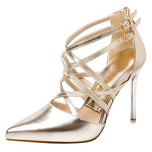 Azbro Women's Pointed Toe High Heels Stiletto Cross Sandals Gold