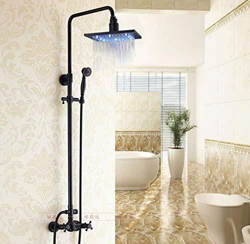 Badezimmer LED-Licht 8-Zoll-Regendusche Wasserhahn Set mit Handspray Öl eingerieben Bronze, schwarz