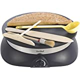 VonShef Professional High Quality Electric Crepe and Pancake Maker, Free 2 Year Warranty + Free Batter Spreader, Oil Brush, Wooden Spatula & Ladle