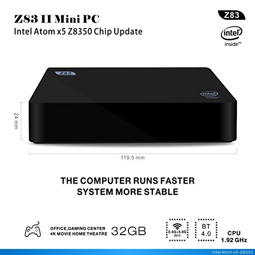 Z83 II Intel Atom Mini PC avec Windows 10—2 Go DDR3 + 32 Go eMMC / Boîtier Processeur Intel Atome x5-Z8350 / Intel HD Graphics 400 4K Ultra HD Desktop PC—1000Mbps LAN / Double bande Wifi / Bluetooth 4.0 / USB 3.0 / USB 2.0 / HDMI