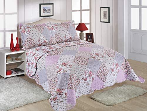 Blumen-bett-decke (Restmor Tagesdecke Steppdecke mit Quilt Patchwork Design, Zweiseitig - Gesteppter Bettüberwurf - Erhältlich in 3 Größen mit Kissenbezug (Single (180x240cm), Amelia))