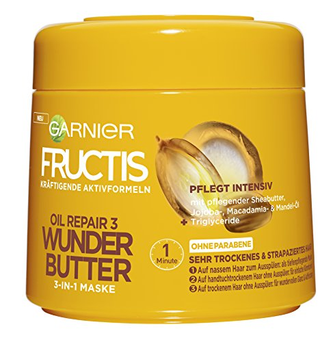 Garnier Fructis Oil Repair 3 Wunder Butter 3-in-1 Maske, intensive Pflege für sehr trockenes Haar, mit Sheabutter, 6er-Pack (6 x 300 ml) (Garnier Fructis Maske)