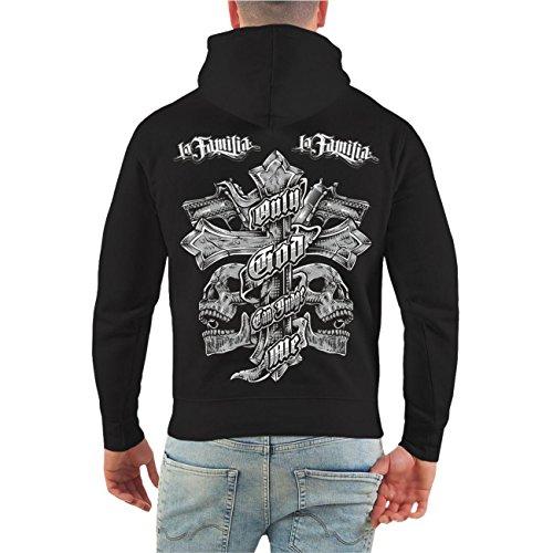 Männer und Herren Kapuzenpullover La Familia Judge Me (mit Rückendruck) Größe S - 8XL schwarz/tarn Kapuze