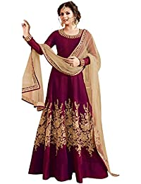 VIHA Women's Banglori Silk Dress Material (DD9_Purple_SS_Free Size_Purple)