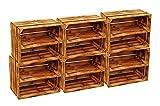 BLUMENKÜBELXXL AB SOFORT: ZWISCHENBÖDEN VERSCHRAUBT Massive geflammte Kiste ALS Schuh- und Bücherregal +++ Obstkiste mit Zwischenbrett +++ Einzeln / 2er Set (Geflammt Längs 6er Set)