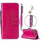 iAdvantec Huawei P20 Lite Hülle Case, Filp PU Leder Wallet Handyhülle Flipcase : Bookstyle Ananas Prägung Tasche Brieftasche Schutzhülle in Rose Rot + Anti Staub Stöpsel + Stylus