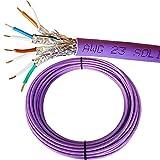 50m Réseau Cat 6A S/FTP LSZH Câble/plomb–faible dégagement de fumée Film blindé/tressé blindé–Solid Core en cuivre pur réseau/Ethernet/LAN 23AWG données Violet