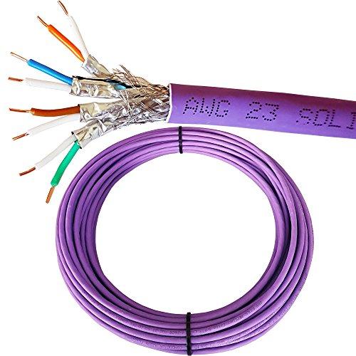 100m Réseau Cat 6A S/FTP LSZH Câble/plomb–faible dégagement de fumée Film blindé/tressé blindé–Solid Core en cuivre pur réseau/Ethernet/LAN 23AWG données Violet
