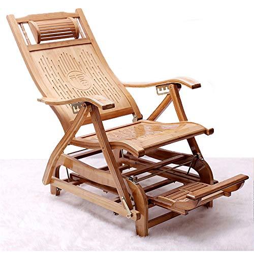 CHUDAN Gartenstuhl Lounge-Sessel - Liege Liegestühle Bambus Verstellbar Schaukelstuhl Mit Fußmassage und Auflage Armlehne, Klappstuhl Sonnenliege für Balkon Terrasse wetterfeste Gartenmöbel - Schaukelstuhl Gepolsterte Hocker