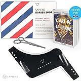 Pochoir Peigne Barbe et Ciseaux pour Barbe & Moustache par Sapiens : Accessoires de Rasage et d'Entretien de Contour de Barbe Homme + Guide d'Utilisation Imprimé + Ebook Offert