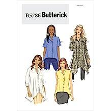 Butterick B5786 - Patrón de costura para confeccionar blusas, camisas y túnicas de mujer (