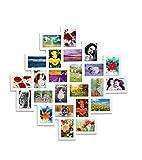 Rebecca Mobili Porta Foto con 24 Spazi, Cornici Collage fotografie Formato 10x15, MDF, Bianco, Home Decor - Misure: 95 x 95 x 1,2 cm (HxLxP) - Art. RE4168