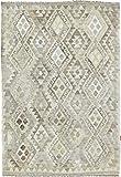 Nain Trading Kelim Afghan Heritage 185x126 Orientteppich Teppich Beige/Olivgrün Handgewebt Afghanistan