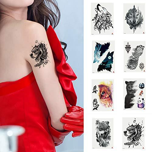 P12cheng Tatuaje Temporal, Arte del Cuerpo, calcomanía de Animales, Oso de Perro,...