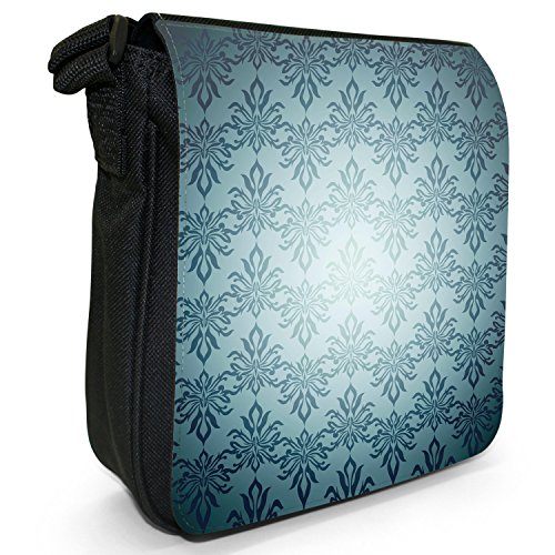 Elegante, Carta da parati, colore: nero, Borsa a tracolla in tela, taglia: S Nero (Blue Colour Pattern)