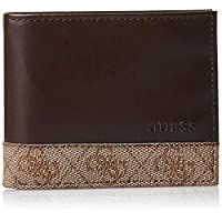 GUESS Men's Flat Billfold Wallet with Card Case, Brown - 41GUE25004