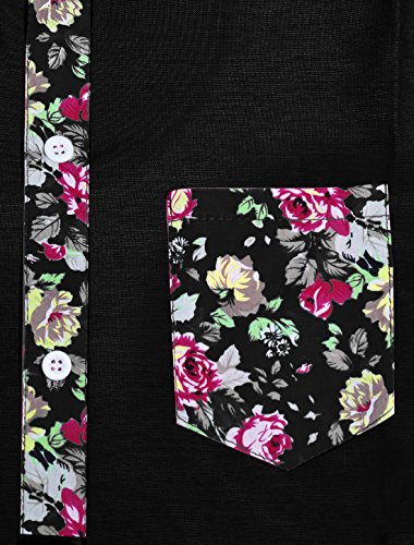 Allegra K Herren Kurzärmelig Blumenmotiven Hemd Black