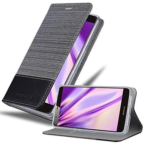 Cadorabo Hülle für Huawei G7 Plus / G8 / GX8 - Hülle in GRAU SCHWARZ - Handyhülle mit Standfunktion und Kartenfach im Stoff Design - Case Cover Schutzhülle Etui Tasche Book