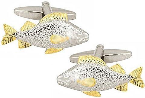 Silver Two Tone Fish Cufflinks by David Van Hagen