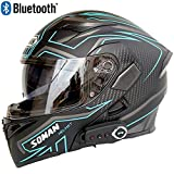 JohnnyLuLu Motorrad-Multifunktions-Bluetooth-Helm, Motorrad-Modular-Flip-up-Integralhelm mit Anti-Fog-Doppelvisier-Multifunktionshelm für Männer und Frauen,E,M -