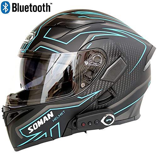 JohnnyLuLu Modularer Bluetooth-Smart-Motorradhelm mit Antibeschlag-Doppelspiegel, offenem D.O.T-Vollgesichts-Klapprad-Schutzhelm,E,XXL