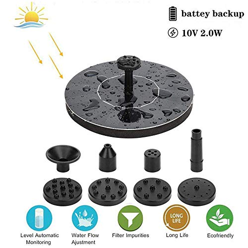 Submersible Fountain Pump Kit (H.Yue Upgraded 2.0W Solar Fountain Pump Bird Bath Pump with Solar Rechargeable Battery, Portable Submersible Free Standing Outdoor Water Fountain Panel Kit for Bird Bath,Small Pond,Garden and Lawn)