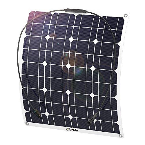 Giaride Solarmodul 18V 12V 50W Solarpanel Monokristallin Solarzelle Photovoltaik Solarladegerät Solaranlage Flexibel mit MC4 Ladekabel für Auto Batterie, Wohnmobil, Boot, 12V Batterien (12v Solar Panel 50w)