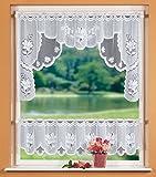Scheibengardinen-Set mit Blumenmuster weiß