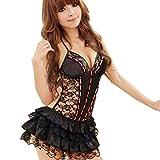 Dessous Damen Sonnena Spitze Babydoll Nachtwäsche Mesh Nachtkleid Lingeries Reizwäsche Frauen Rassige Unterwäsche Maid Uniformen Versuchung Nachthemd + G-String Reizvoller Pyjama (XL, Sexy Schwarz)