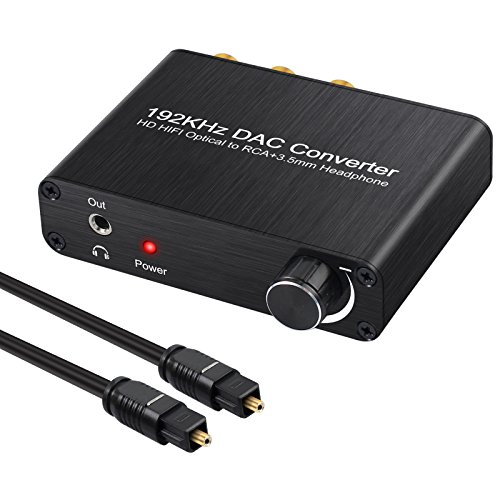 Neoteck DAC Convertitore 192Khz Audio Decoder Controllo Volume -Adattatore Digitale SPDIF Coaxial Toslink ad Analogico Stereo L/R RCA 3.5mm Jack Audio Supporta DTS/Dolby AC3 5.1CH per HDTV PS3 PS4 DVD