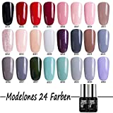 UV LED Nagellack gel von Modelones gellac Nageldesign uv farbgel Maniküre uv gel polish rosa&grau 24×7ml