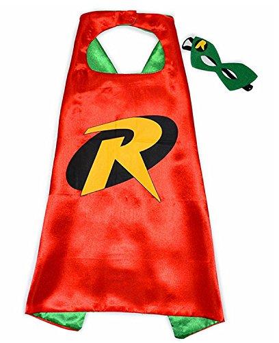 (3-6 Jahre - Kostüm Set - Verkleidung - Karneval - Halloween - Robin von - Mann Fledermaus - Rot - Maske - Umhang - Kind - Batman)