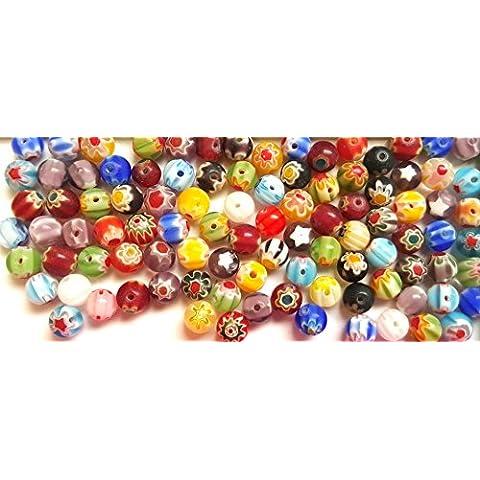 Beads'n'Bobs motivo: Millefiori, 6 mm, con perle rotonde in vetro, motivo floreale, Colori misti, Vetro, Transparent Green, 25 mm - 15 Handmade Lampwork