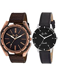 Pappi Boss - DECENT - Pack Of 2 - Leather Strap Casual Couple Wrist Watch For Boys, Girls, Men, Women