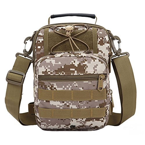 ueasy Kompakte Mehrzweck-Tactical MOLLE Sling Pack Brust Pack Tactical Rucksack Military Sport Pack Schulter Rucksack - Desert Camo