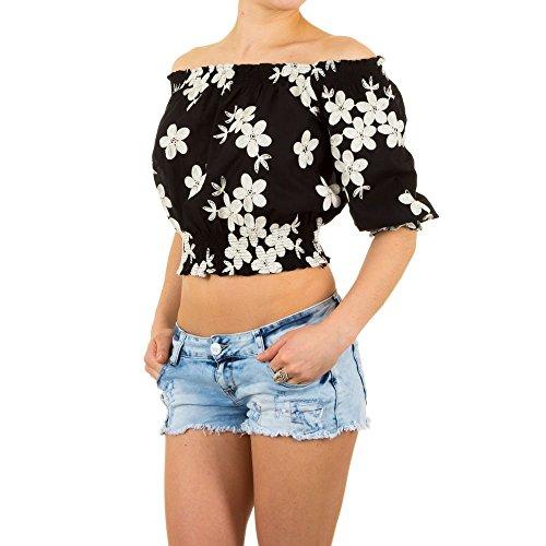 Schuhcity24 Damen Bluse Schulterfreie Party Crop Schwarz S/M (T-shirt Dunklen Tochter Womens)